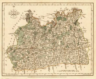 Antique county map of SURREY by JOHN CARY. Original outline colour 1787