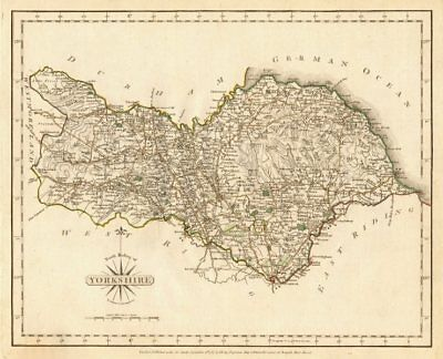 NORTH RIDING OF YORKSHIRE antique map by JOHN CARY. Original outline colour 1787