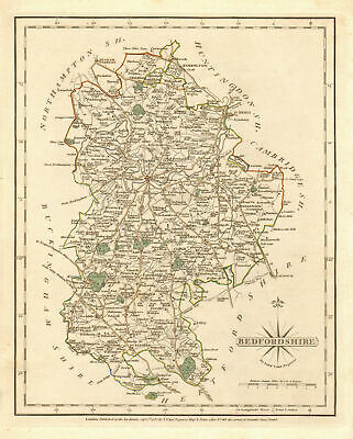 Antique county map of BEDFORDSHIRE by JOHN CARY. Original outline colour 1787