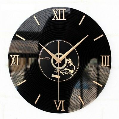 Classic Nostalgia Vinyl Wall Clock 3D Vintage Retro Watch For Home Decoration