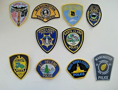 30 Police Patches Collection Alaska CA NJ FL etc. All Different Patch Lot