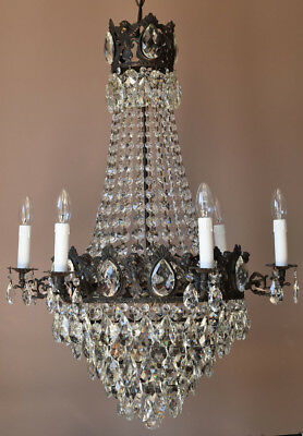 ANTIQUE French Vintage Crystal ORIGINAL Chandelier Lamp Lighting Fixture GOTHIC