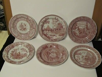"""Set of 6 Spode ARCHIVE COLLECTION CRANBERRY Red 10 1/2"""" DINNER Plates"""