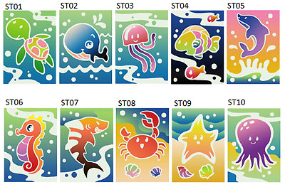 Sand Art Card - Sea Theme (12 cards in 10 designs) for party, fete, etc...