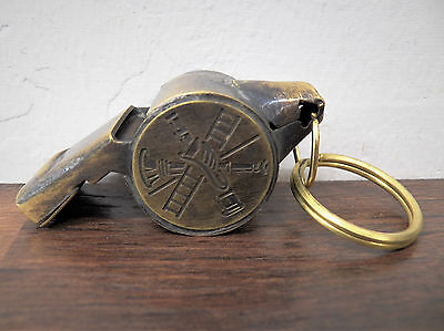 "Solid Brass 2"" Working Fireman Fire Fighter Whistle w/Ring Vintage Patina"