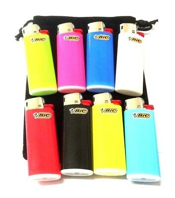 4 x MINI BIC LIGHTERS Long Lasting Small Gas Cigarette Lighter with Gift Pouch