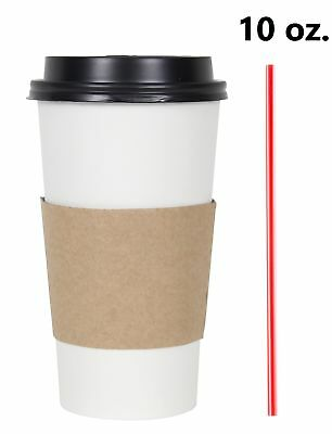 100 Set 10 Oz. Disposable Hot Tea Paper Coffee Cups With Lids Sleeves Stirrers