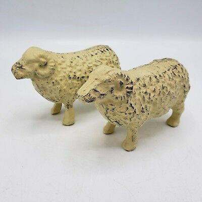 """Pair of Rustic Vintage Style Cast Iron White Shabby Chic Painted Iron Sheep ~ 6"""""""