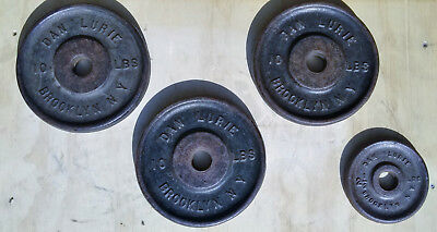 """Vintage Dan Lurie 3 x 10 lbs, 1 x 2.5 lb Plates 32.5lbs 1"""" hole Comes w/Dumbbell"""