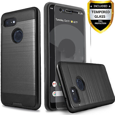 For Google Pixel 3 / Pixel 3 XL Case, Shockproof Cover +Tempered Glass Protector