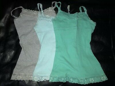 2f8d1a420d6f6a JUSTICE Girls Gray Blue Tank Tops Shirts Metallic Lace Camis Size 8 Lot Set  3