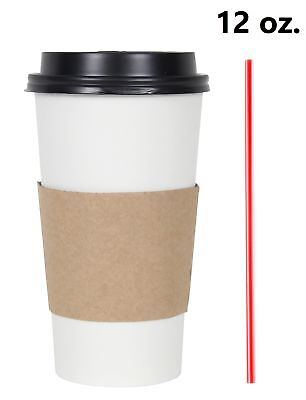 300 Set 12 Oz. Disposable Hot Tea Paper Coffee Cups With Lids Sleeves Stirrers