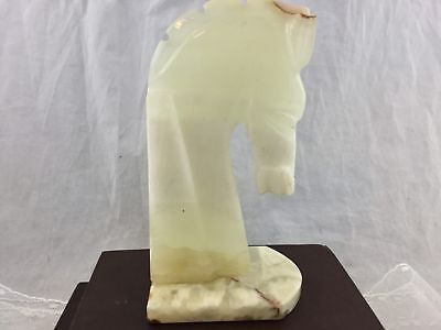 Vintage Natural Onyx Stone Horse Head Bookend Carved Figure 8 inch