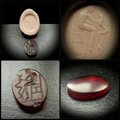 ROMAN INTAGLIO GEMSTONE SEAL WITH SEATED gOD HOLDING HORNED SNAKE 2nd-4th A.D.