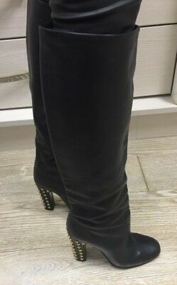08dcd8b40fd GUCCI Black Leather Jacquelyne Studded Tall boots sz.35