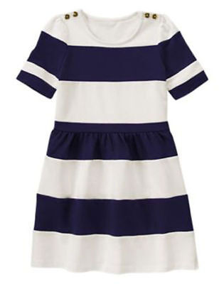 NWT Gymboree FLOWER SHOWER Navy White Color Blocked Dress Striped 4 5 6 8