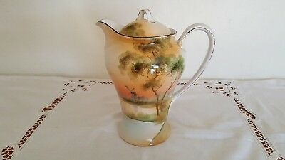 "Antique 1911 Japanese Nippon 7.5"" Tall Hand-Painted Hot Chocolate / Coffee Pot"
