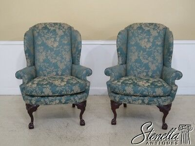 45227EC: Pair CENTURY Ball & Claw Mahogany Wing Back Chairs