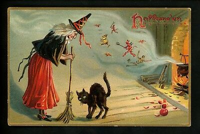 Halloween postcard Tuck 150-2 2of2 Witch devils demons black cat fantasy Vintage