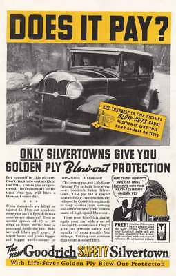 1936 Goodrich Safety Silvertown Tires: Does It Pay Vintage Print Ad