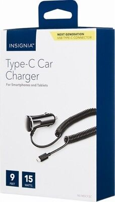 Insignia - USB Type-C 9ft Vehicle Charger 15w - NS-MDCF3C - Black - Brand New