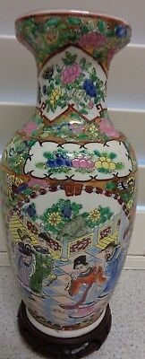 Vintage Chinese Porcelain Scenic Hand Painted and Glazed Vase 13 Inches High