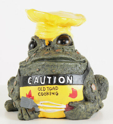 Toad Hollow Indoor / Outdoor Caution Old Toad Cooking Figurine / Statue