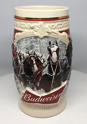 CRACKED 2015 Budweiser Holiday Stein Christmas Beer Mug 36th in Annual Series