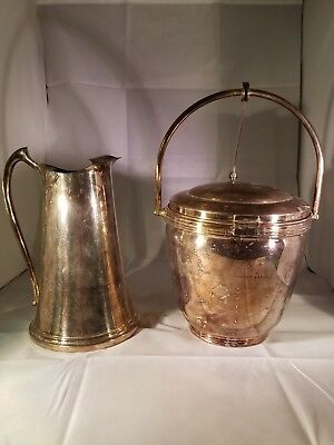 Sheffield silverplate ice bucket w hinged lid,insulator, tongs, and pitcher