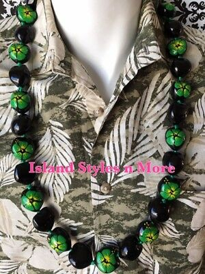 Hawaii Wedding Solid BLACK GREEN Hibiscus Kukui Nut Lei Graduation Necklace NWT