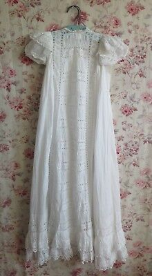 French Antique Heirloom White Work & Hand Embroidered Chistening Gown c1870