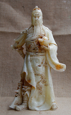 "12"" China Old White Jade hand Carved Ingot Broadsword guanyu guangong statue"