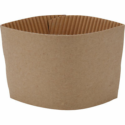 100 ct. 10 - 20 Oz. Eco Disposable Brown Coffee Cup Sleeves / Jacket / Clutch