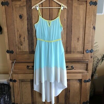Anthropologie Willow & Clay Colorblock High Low Green Dress Size M
