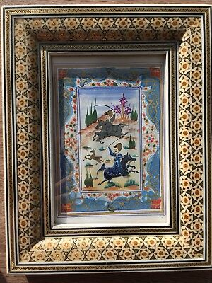 Vintage Hand Made Persian Khatam Wood Hunting Picture Frame Painted,sz:25cm*20cm