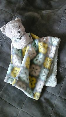 Blankets & beyond teddy bear gray blue yellow Security blanket baby lovey toy