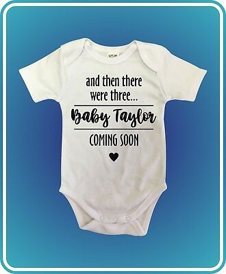 COMING SOON NAME DATE Pregnancy reveal announcement Baby Suit One Piece White