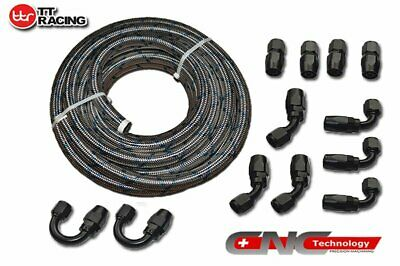 AN-10 Blue Tracer Stainless Steel Fuel Line 30FT Fitting Hose End  Kit Black
