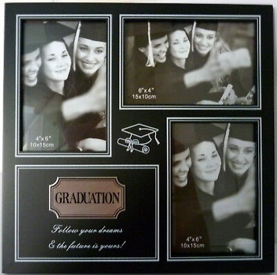 """Graduation """"follow Your Dreams..."""" Black Timber 3 Photo Frame With Silver Plaque"""