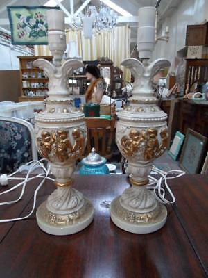2 x vintage french style  cherub cream gold solid plaster lamps lamp bases pair