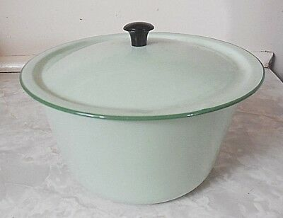 Vintage Green Enamel lidded bowl,dripping pot 16cm  bumper harvest china