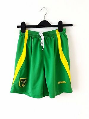 Norwich City Home Shorts 2010. Small Adults. Xara. Green Football Shorts Only S.