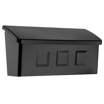 Surface Mount Mailbox Black Galvanized Steel Roof Lifts Open Small Non Locking