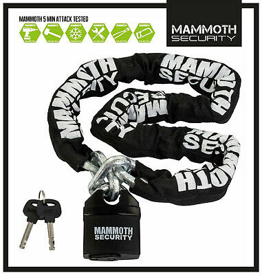 MAMMOTH MOTOCROSS MOTORCYCLE SCOOTER SECURITY PADLOCK LOCK AND & CHAIN 1.2m LONG