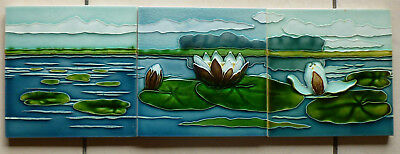 Jugendstil Fliese art nouveau tile tegel NSTG Seerosen Set top rar sensationell