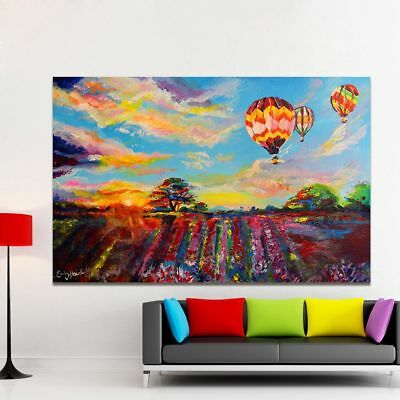 Frameless Sky Balloon Landscape Canvas Oil Painting Wall Art Pictures Home Decor