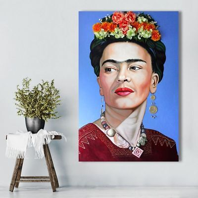 Frida Kahlo Portrait With Flowers Canvas Figure Painting Wall Art Pictures Decor