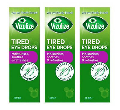 Vizulize Tired Eye Drops 15ml, Moisture Soothe & Refresh, Contact Lens Friendly