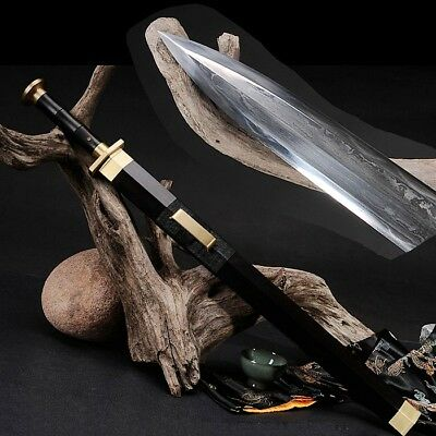 Warring States Style Sword pattern steel with clay tempered Sharp Blade #1772