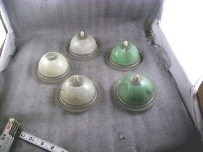 5 Vintage Art Deco  Plastic Light Shade green and white